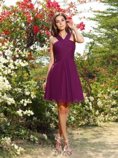 A-Line/Princess Straps Knee-Length Chiffon Bridesmaid Dress