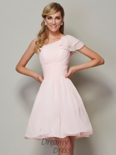 A-Line/Princess Straps Pleats Chiffon Short/Mini Bridesmaid Dress