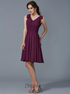 A-Line/Princess Straps Pleats Knee-Length Chiffon Bridesmaid Dress