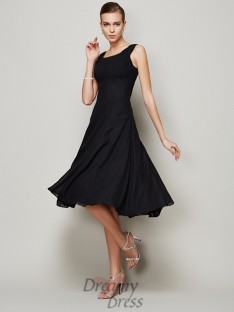 A-line/Princess Straps Pleats Knee-length Chiffon Dress
