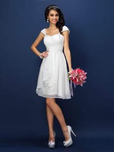 A-Line/Princess Straps Short/Mini Chiffon Bridesmaid Dress