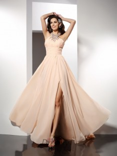 A-Line/Princess Sweep/Brush Train Chiffon Dress