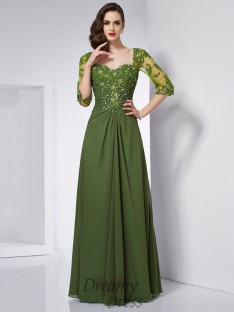 A-Line/Princess Sweetheart 3/4 Sleeves Chiffon Floor-Length Dress