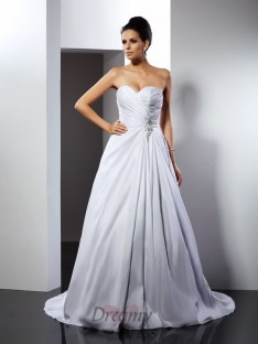 A-Line/Princess Sweetheart Court Train Taffeta Wedding Dress