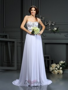 A-Line/Princess Sweetheart Chiffon Court Train Wedding Dress