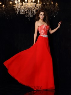 A-Line/Princess Sweetheart Chiffon Lace Floor-Length Dress