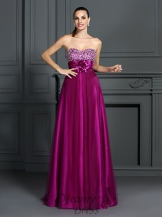 A-Line/Princess Sweetheart Elastic Woven Satin Long Dress