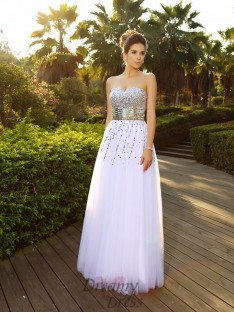 A-Line/Princess Sweetheart Floor-Length Organza Dress