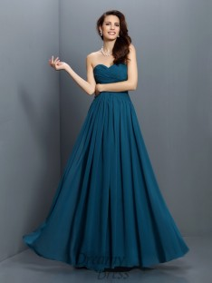 A-Line/Princess Sweetheart Floor-Length Satin Bridesmaid Dress