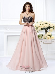 A-Line/Princess Sweetheart Lace Chiffon Long Dress