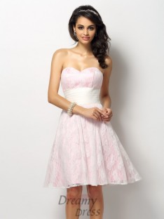 A-Line/Princess Sweetheart Lace Short/Mini Satin Bridesmaid Dress