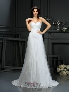 A-Line/Princess Sweetheart Net Court Train Wedding Dress