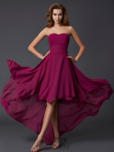 A-Line/Princess Sweetheart Pleats Chiffon Asymmetrical Dress