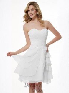 A-Line/Princess Sweetheart Pleats Knee-Length Chiffon Bridesmaid Dress