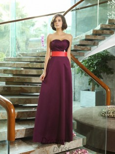 A-Line/Princess Sweetheart Satin Floor-Length Dress