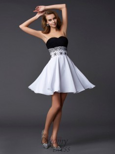 A-Line/Princess Sweetheart Short/Mini Chiffon Cocktail Dress