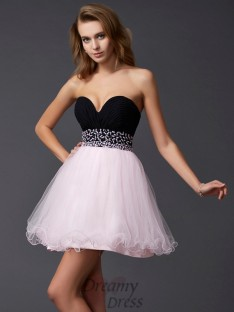 A-Line/Princess Sweetheart Short/Mini Elastic Woven Satin Dress