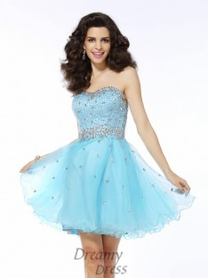 A-Line/Princess Sweetheart Short/Mini Organza Dress