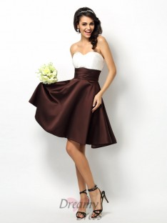 A-Line/Princess Sweetheart Short/Mini Satin Bridesmaid Dress