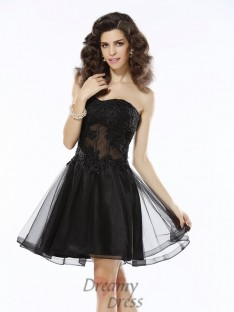 A-Line/Princess Sweetheart Short/Mini Satin Dress