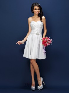 A-Line/Princess Sweetheart Short/Mini Taffeta Bridesmaid Dress