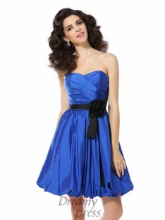 A-Line/Princess Sweetheart Short/Mini Taffeta Dress