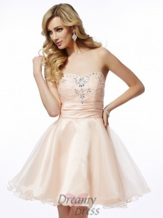 A-Line/Princess Sweetheart Short/Mini Tulle Cocktail Dress