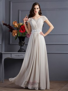A-Line/Princess Sweetheart Short Sleeves Chiffon Floor-Length Dress