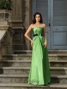 A-Line/Princess Sweetheart Silk like Satin Floor-Length Dress