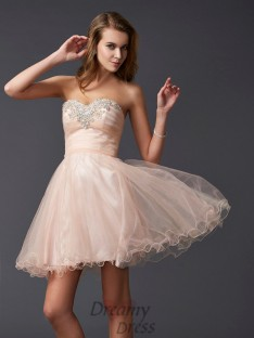 A-Line/Princess Sweetheart Silk like Satin Short/Mini Dress
