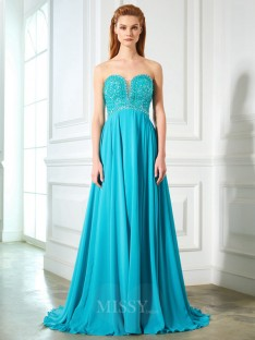 A-Line/Princess Sweetheart Sleeveless Chiffon Sweep/Brush Train Dress