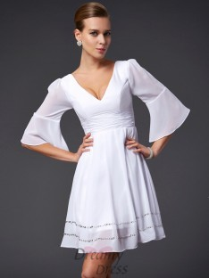 A-Line/Princess V-neck 1/2 Sleeves Short/Mini Chiffon Dress