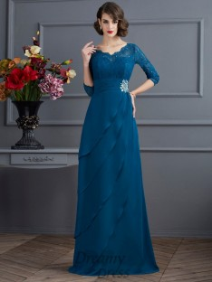A-Line/Princess V-neck 3/4 Sleeves Floor-Length Chiffon Dress