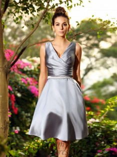 A-Line/Princess V-neck Knee-Length Satin Bridesmaid Dress