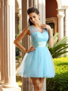 A-Line/Princess V-neck Net Short/Mini Dress