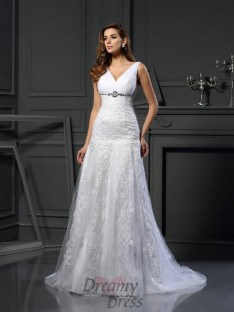 A-Line/Princess V-neck Satin Chapel Train Wedding Dress