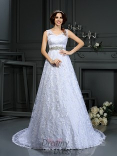 A-Line/Princess V-neck Satin Court Train Wedding Dress