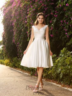 A-Line/Princess V-neck Satin Knee-Length Wedding Dress