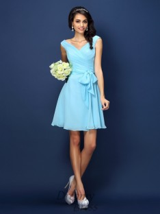 A-Line/Princess V-neck Short/Mini Chiffon Bridesmaid Dress