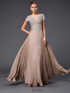 A-line/Princess V-neck Short Sleeves Floor-length Chiffon Dress