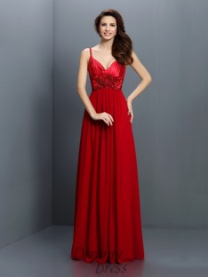 A-Line/Princess V-neck Spaghetti Straps Floor-Length Chiffon Bridesmaid Dress