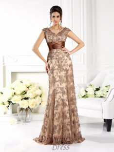 A-Line/Princess V-neck Sweep/Brush Train Satin Dress