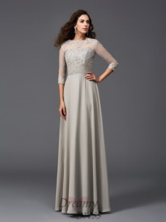 A-line Scoop 3/4 Sleeves Chiffon Long Dress
