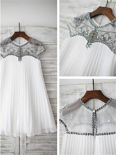 A-line Scoop Beading Tea-length Chiffon Flower Girl Dress