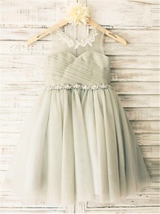 A-line Scoop Beading Tea-Length Tulle Flower Girl Dress