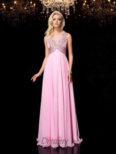 A-line Scoop Chiffon Long Dress