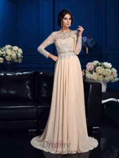 A-line Scoop Chiffon Mother Of The Bride Dress