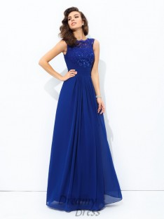 A-line Scoop Floor-length Chiffon Lace Dress