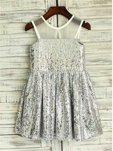 A-line Scoop Tea-length Sequins Flower Girl Dress