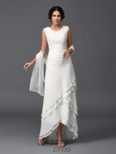 A-line Scoop Lace Ankle-Length Chiffon Mother of the Bride Dress